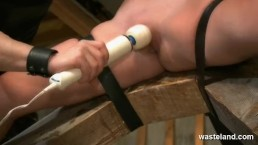 Electro play and pegging for bound and flogged blonde sex slave
