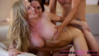 And mom his step with girlfriend threesome surprise momsteachsex step