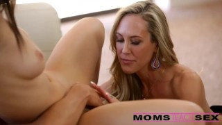 Mom step and threesome his girlfriend surprise with fox younger