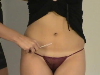 Jessica stretched and tickled