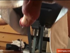 My gym trainer lets me to wank his hige cock in a porn movie !