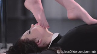 Sex Starved Doll is Strapon Fucked Hard by Maria Pie  strapon straplessdildo foot-fetish lesbians sex-toys fishnets pantyhose kink hairy-pussy footjob girl-on-girl high-heels adult toys leoatrds straples dildo