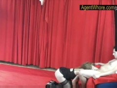 Young man gets BJ and handjob from redhead agent whore