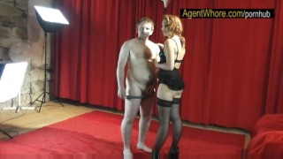 Reversed casting - slovak guy gets blowjob from redhead MILF Solo milf