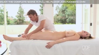 Preview 2 of Busty all natural American babe Siri oil massaged and titty fucked