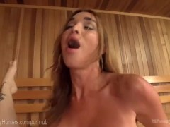 Fake tits shower blowjob