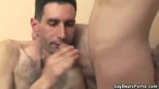 Slim Hairy Bear Cock Sucks His Partner
