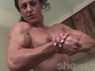 Naked Female Bodybuilder Posing and Flexing