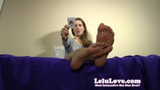 Are YOU ready to play a tease and denial card game with me?  denial homemade teasing humiliation chastity foot femdom amateur solo pov soles fetish domination brunette feet natural tits toe lelu love