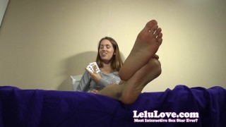 Are YOU ready to play a tease and denial card game with me?  denial homemade teasing humiliation chastity foot femdom amateur solo pov fetish domination brunette feet toe soles natural tits lelu love
