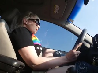 Store employee blowjob edging while driving