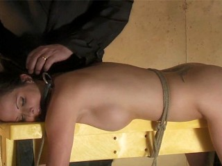 Sexy public pussy fun in the tool shed wasteland tied up brunette automated dildo whipp