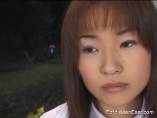 Cute Asian college student in uniform gives long deep sloppy blowjob