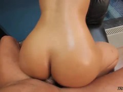 Sexy TS Bruna Butterfly Sucks a Big Cock then takes it in her ass