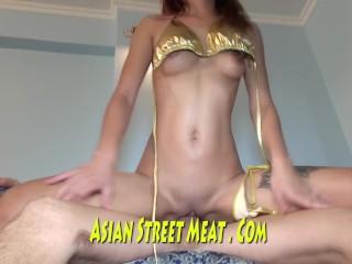 Asian High Class Slapper In Low Class Squat