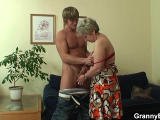 Guy fucks sewing granny from behind 6