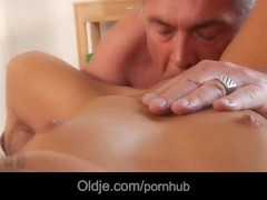 Smooth young bimbo horny for old experienced cock
