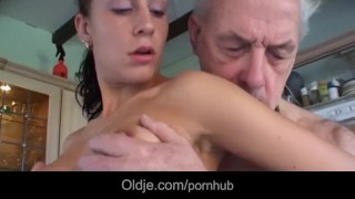 Over brunette young fucks him licks grandpa and all kitchen fetish