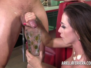 Ariella Ferrera Fucks For Food at Closing Diner and Drinks Glass of Cum