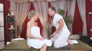 Massage Rooms Sexy toned blonde has her tiny shaved hole filled with cock