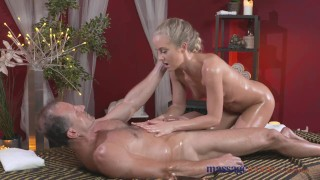 Massage Rooms Sexy toned blonde has her tiny shaved hole filled with cock Nice cock