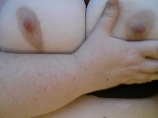 Playing with massive tits and nipples