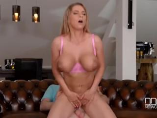 Chesty Czech pornstar goes rides hard till Orgasm