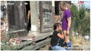 German outdoor user sex at a shack  doggy style creampie outside amateur blowjob public fetish cock sucking brunette german european doggystyle sun glasses piss mydirtyhobby outdoor sex