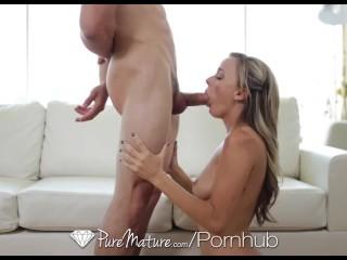 PureMature – Hot blonde Pristine Edge fingers her tight pussy