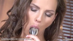 Eve Angel brand new and stylish masturbation scene with a steel dildo