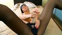 StraponCum: Black nylons filled with hot bubbly strapon cum