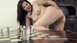Ella Martin strips naked by her chess table