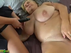 Young girl with strapon fucks fat old granny
