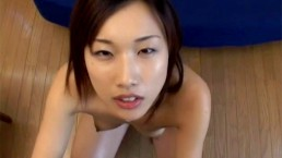Foxy Japanese cowgirl drinks man chowder after blowing a cum gun