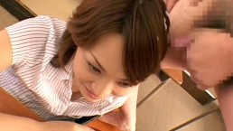 Adorable Japanese babe in class holding her man's dong