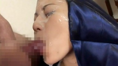 Captivating Asian nun in group sex getting sprayed in nut butter