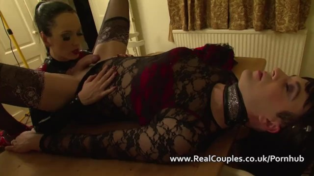Crossdressing fetish modal - Kinky wife in pvc with crossdressing husband