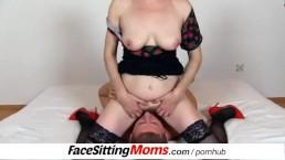 Slim stockings legs euro cougar Maya bushy vagina cfnm facesitting
