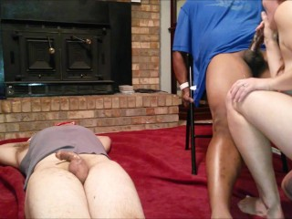 Tricked Wife Gets Revenge On Hubby And Friend - Bound And Blindfolded
