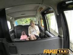 FakeTaxi Blonde likes older men in backseat of London taxi