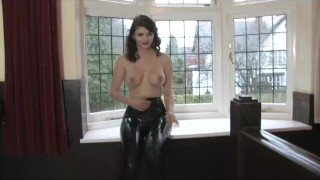 Gorgeous Girl does amazing Latex Striptease  kink striptease latex big boobs latexheavenvideo stripoer latex leggings teasing leggings