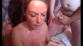 Sexy Lexi and Alexis May take facials and cumshot in a bukkake party video porno