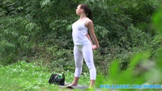 PublicAgent Brunette babe gets fucked outdoors in her yoga pants porno