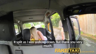 On driver gives cab creampie sexy faketaxi blonde helpful backseat a creampie pov