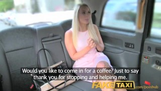 FakeTaxi Helpful cab driver gives sexy blonde a creampie on backseat Blowjob billy