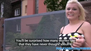 PublicAgent Blonde with big boobs gets cum over her tight pussy