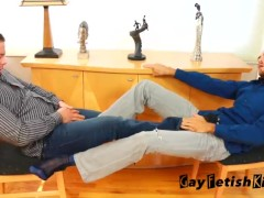 Brad & Derrick Collins bare foot and sheer sock worship