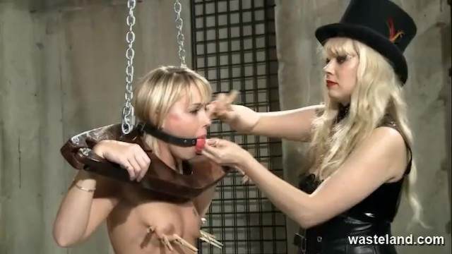 Dungeon male sex tease Sexy blonde sex slave teased and pleased in dungeon by lesbian mistress