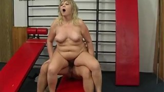 Grandmother bounces her tits