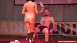 Slut simulating sex on the stage